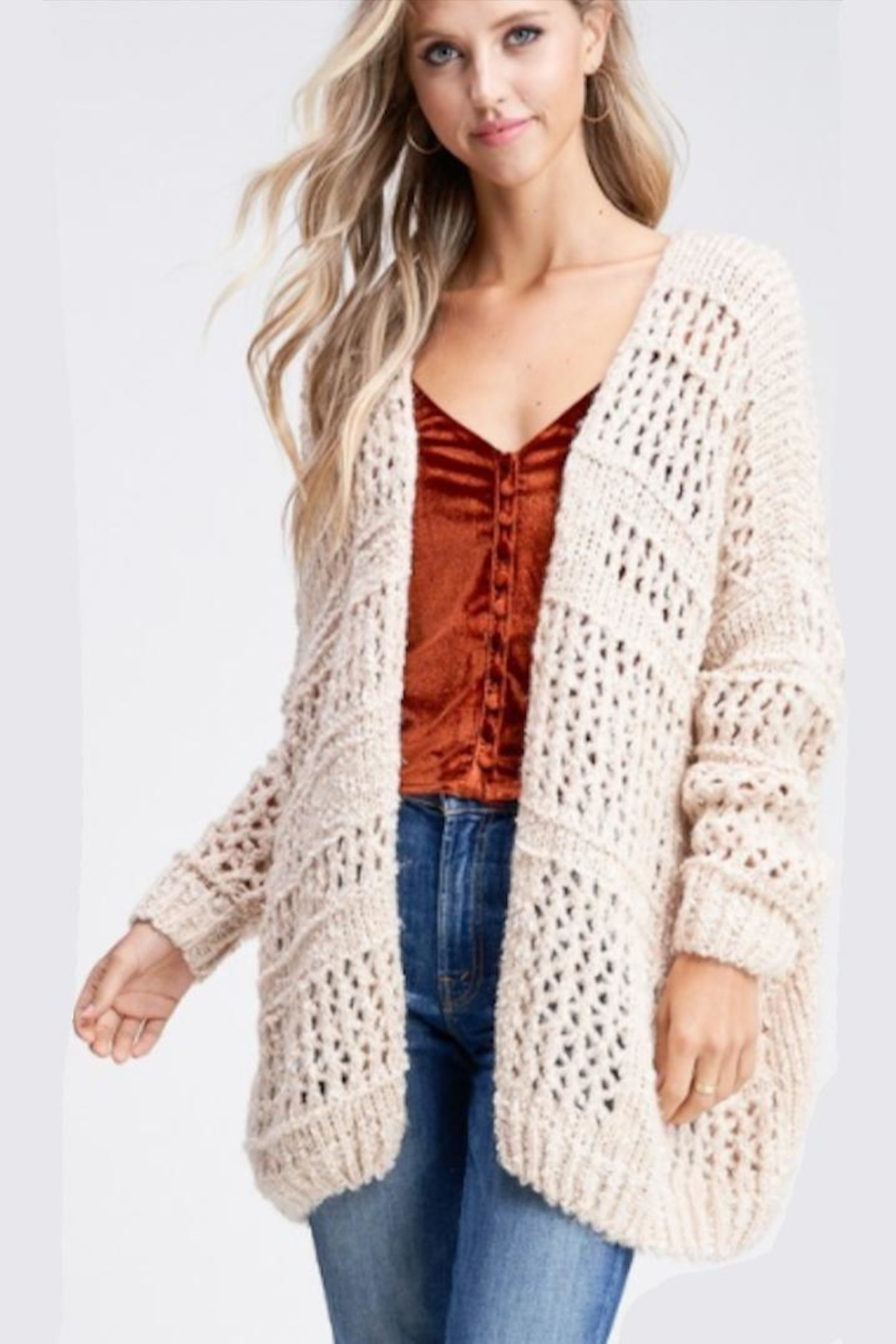 Paper Moon Classic Loose-Knit Cardigan - Back Cropped Image