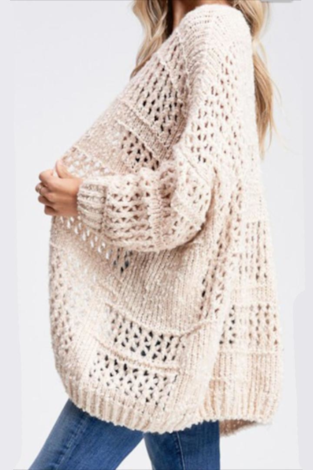 Paper Moon Classic Loose-Knit Cardigan - Front Full Image