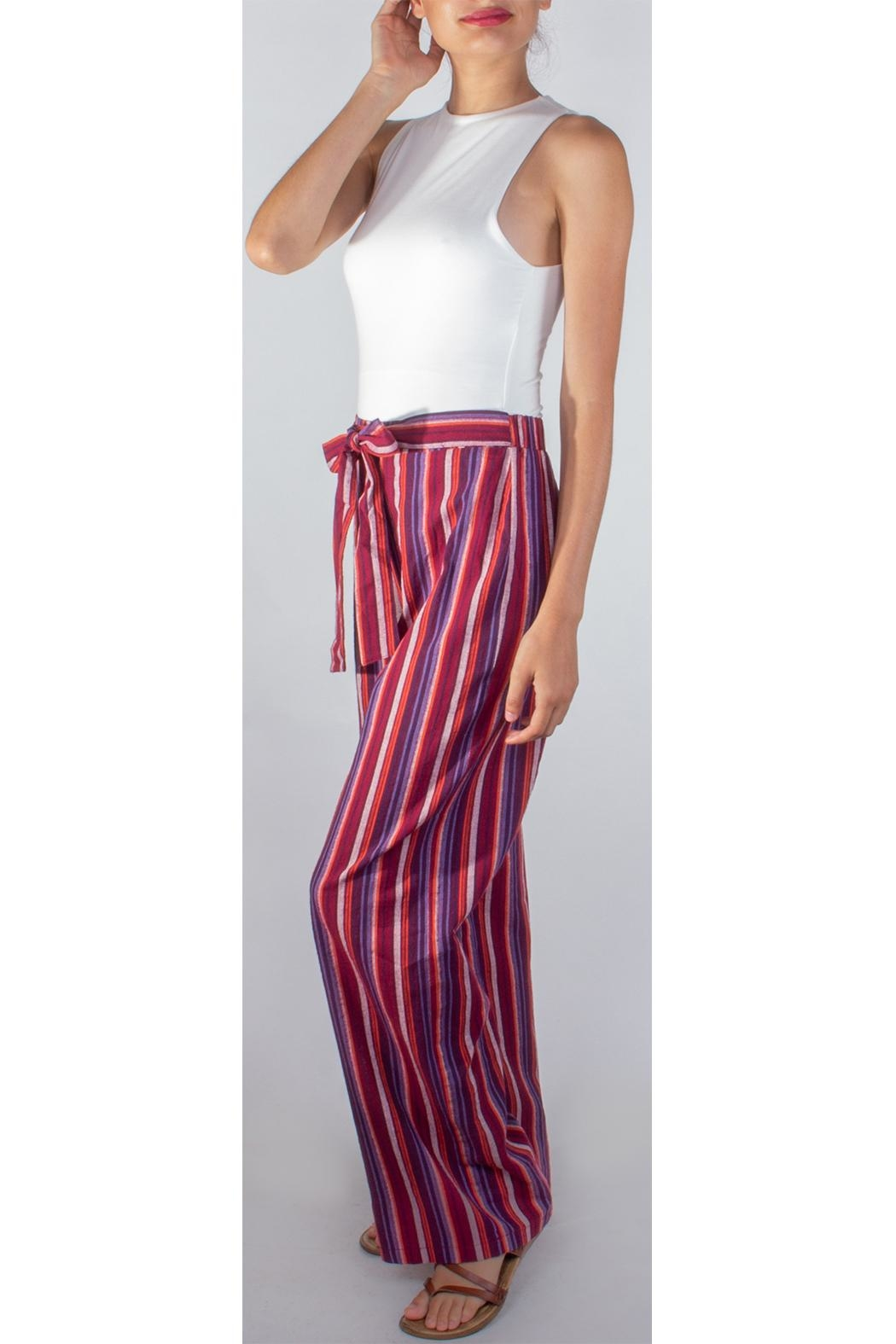 Miss Love Paperbag Striped Pants - Front Full Image