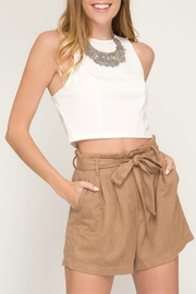She + Sky Paperbag Waist Suede Short - Product Mini Image