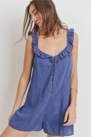Papercrane Ruffle Denim Romper - Front full body