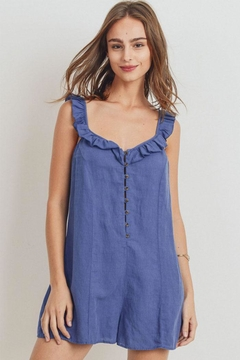 Papercrane Ruffle Denim Romper - Product List Image