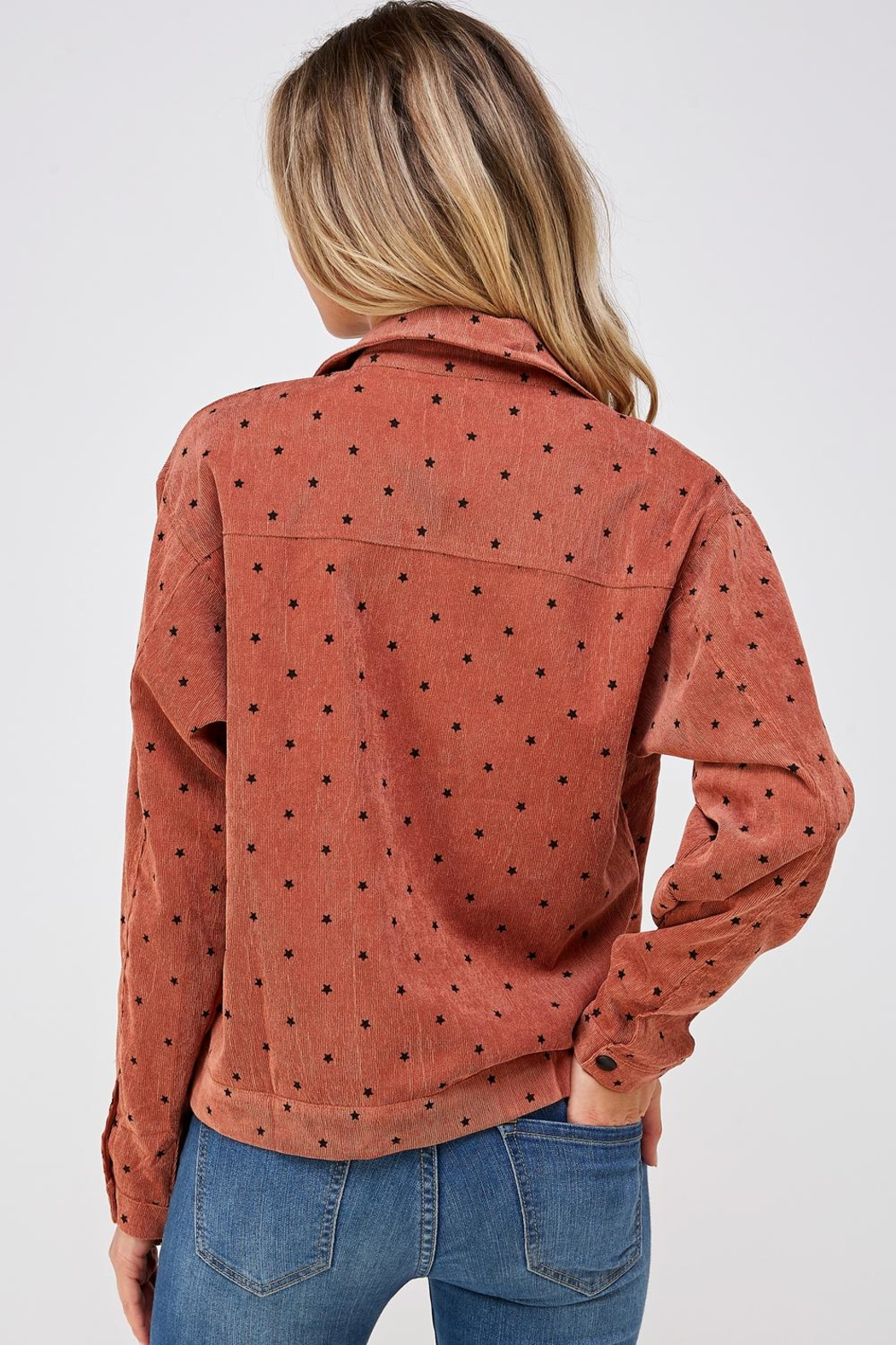 Papercrane Star Print Bomber - Back Cropped Image