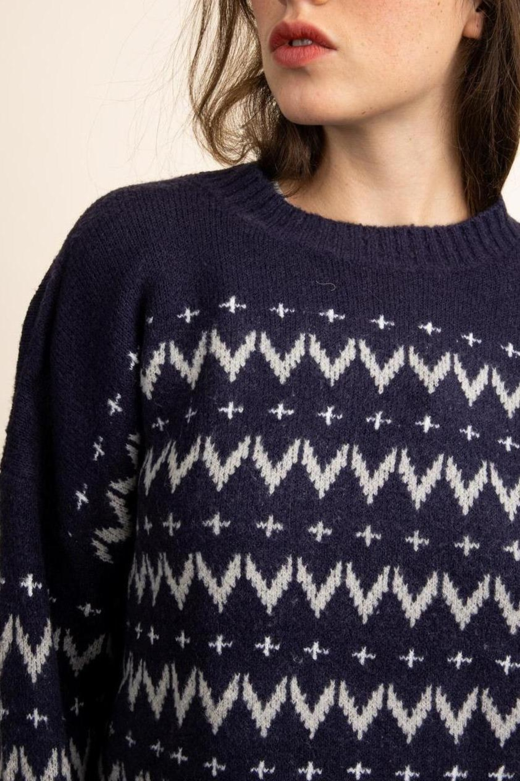 Papermoon Chevron Sweater In Navy - Front Full Image