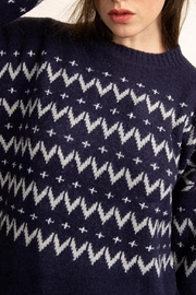 Papermoon Chevron Sweater In Navy - Front cropped