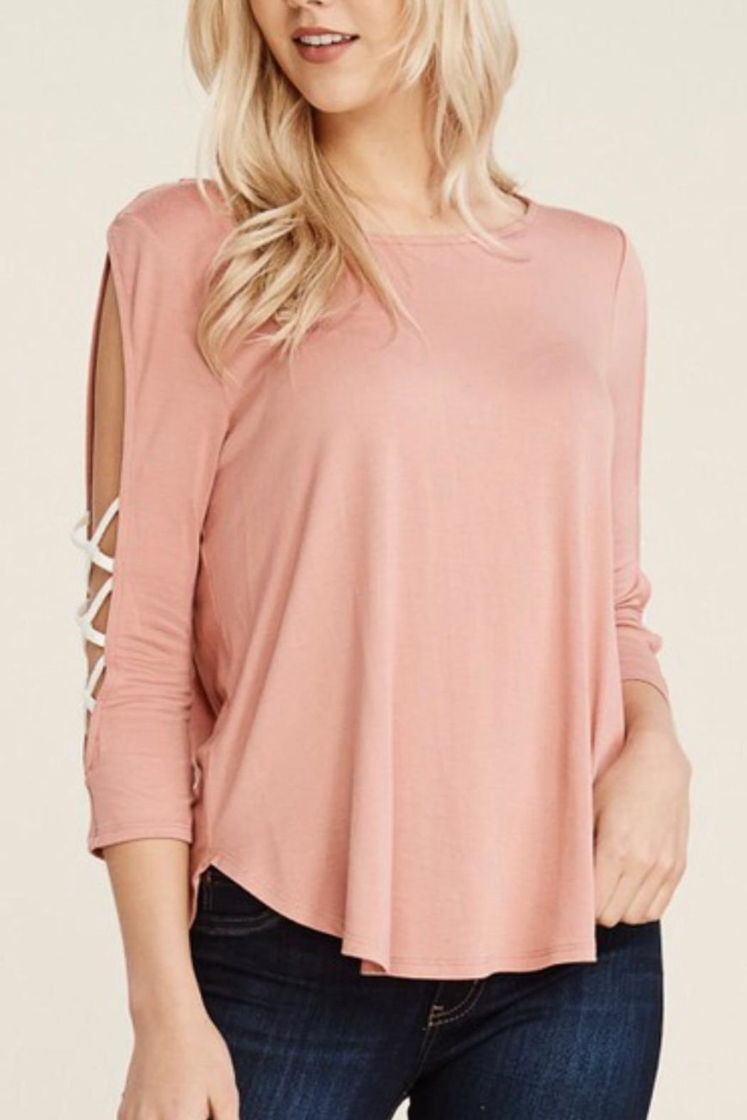 Papermoon Criss-Cross Sleeve Top - Front Cropped Image