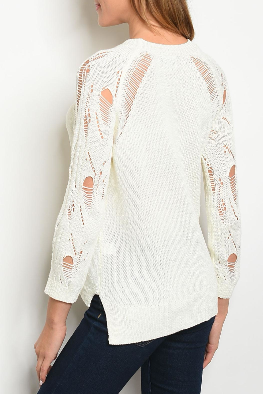 Papermoon Ivory Distressed Sweater - Front Full Image