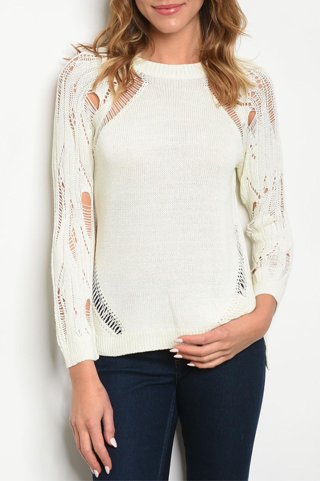 Papermoon Ivory Distressed Sweater - Main Image