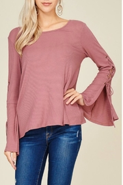 Papermoon Lace Up Bell Sleeve Top - Product Mini Image