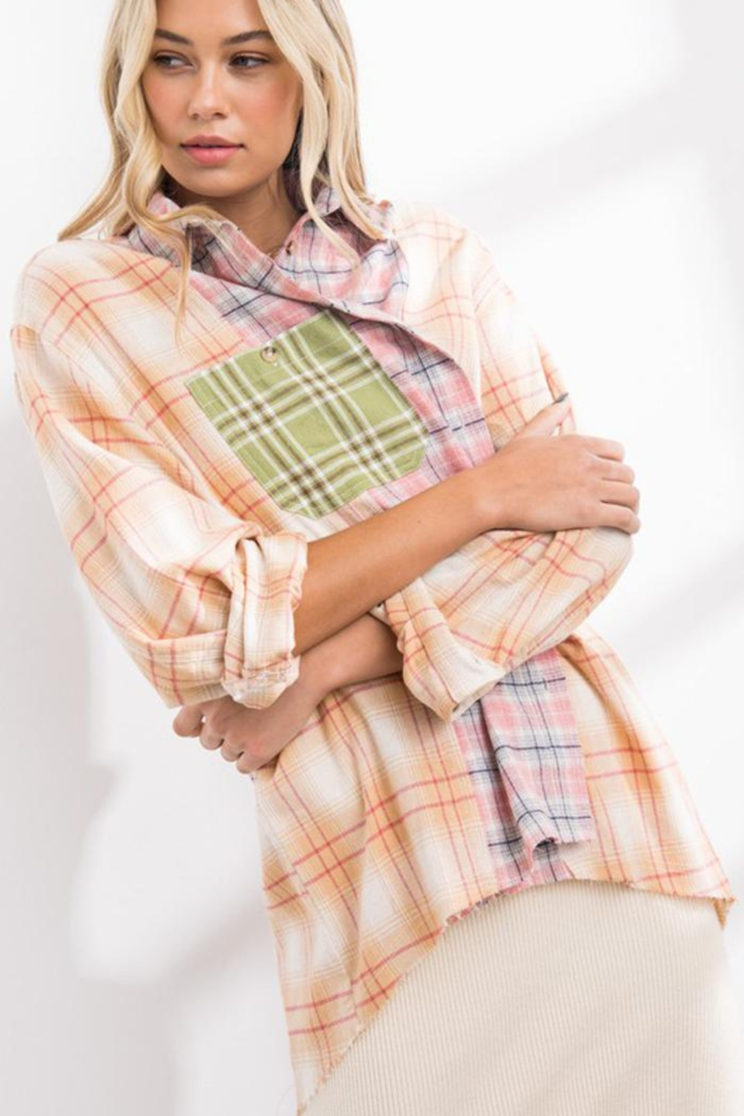 Papermoon Patchwork Oversized Soft Cotton Plaid Button Down Shirt Top - Back Cropped Image