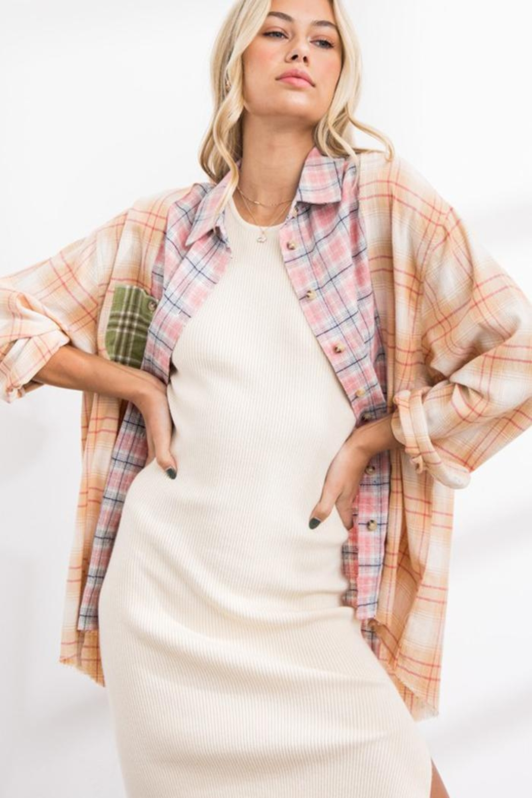 Papermoon Patchwork Oversized Soft Cotton Plaid Button Down Shirt Top - Front Full Image
