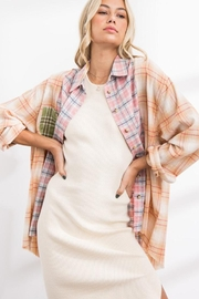 Papermoon Patchwork Oversized Soft Cotton Plaid Button Down Shirt Top - Front full body