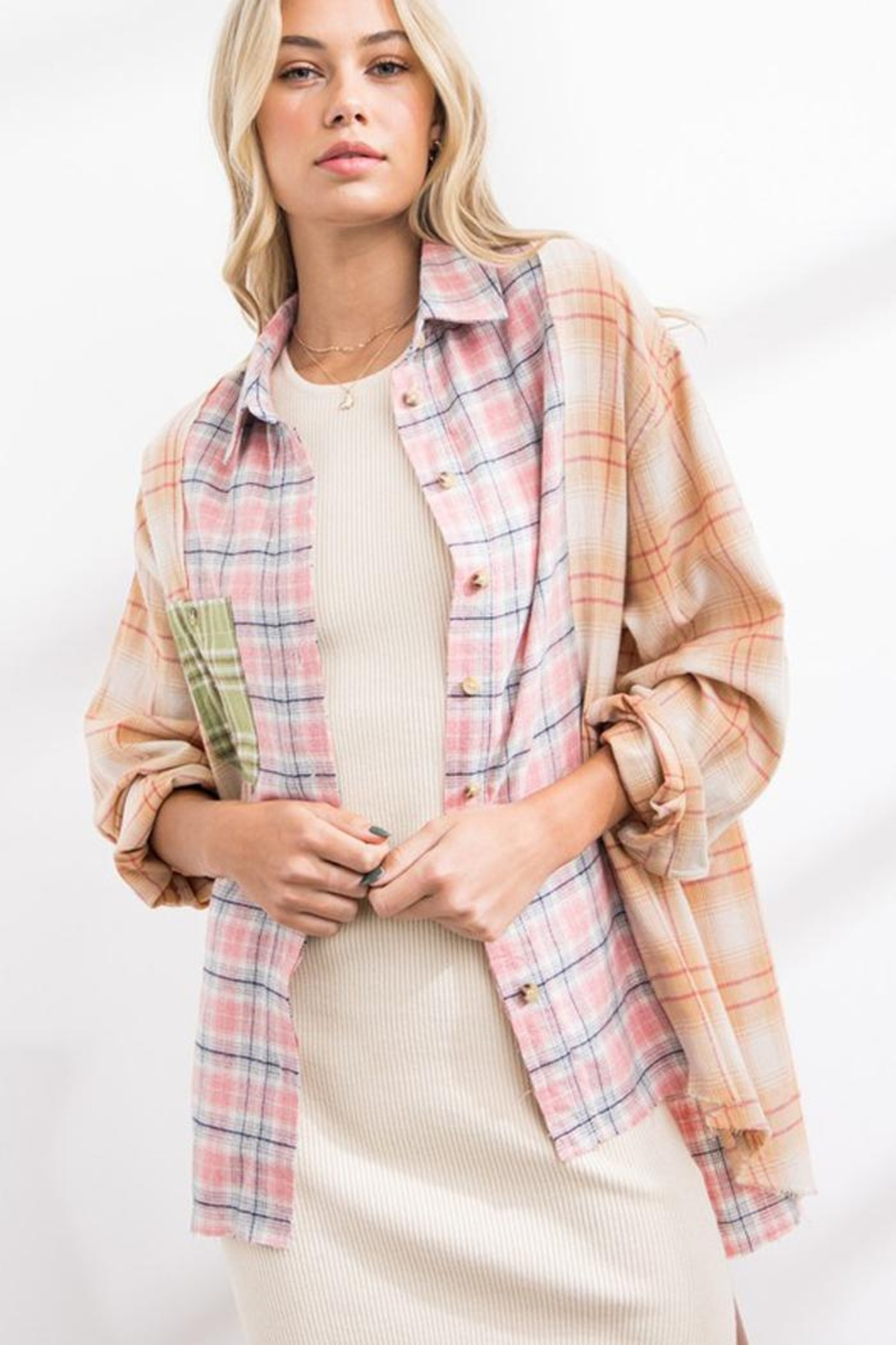 Papermoon Patchwork Oversized Soft Cotton Plaid Button Down Shirt Top - Main Image