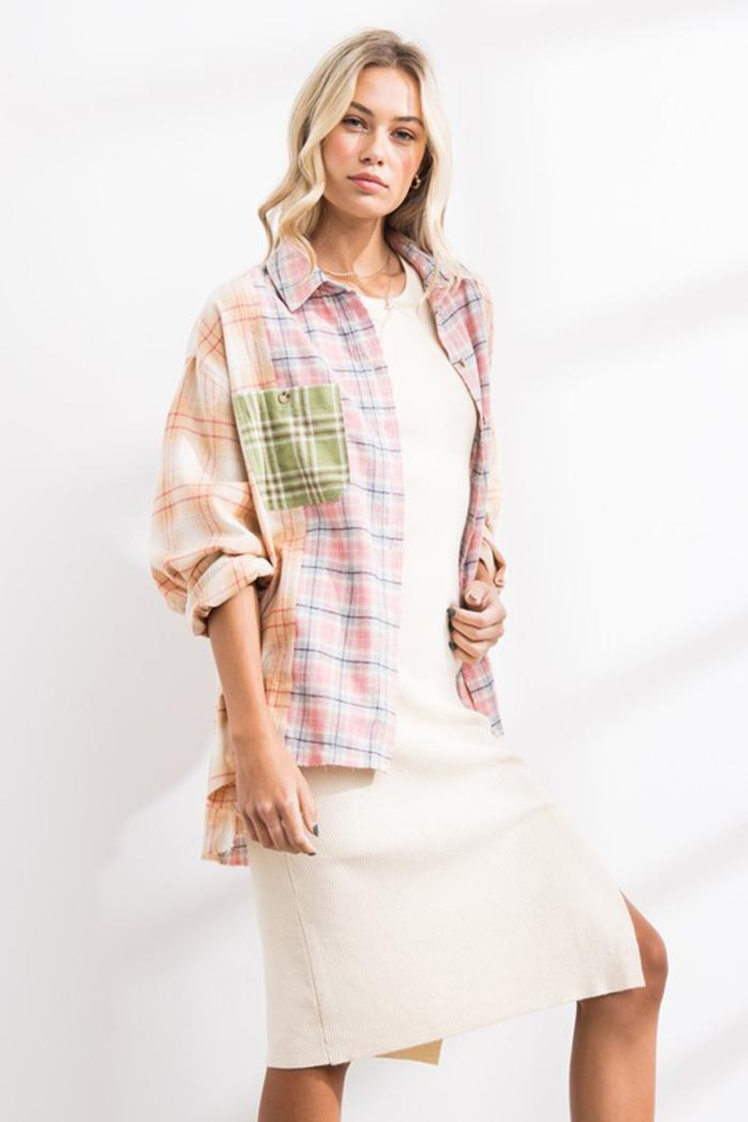 Papermoon Patchwork Oversized Soft Cotton Plaid Button Down Shirt Top - Side Cropped Image