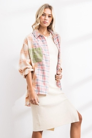 Papermoon Patchwork Oversized Soft Cotton Plaid Button Down Shirt Top - Side cropped