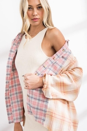 Papermoon Patchwork Oversized Soft Cotton Plaid Button Down Shirt Top - Other