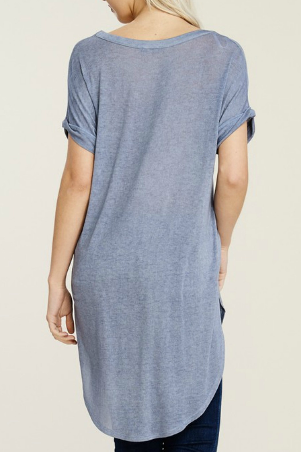 Papermoon Roll Sleeve Knit Dress - Back Cropped Image