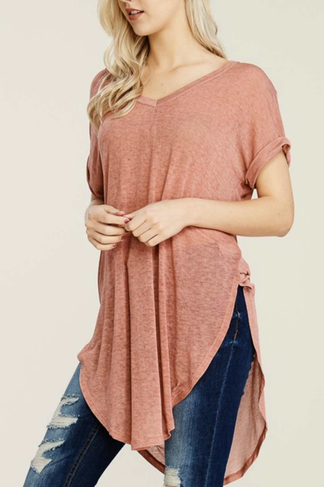 Papermoon Roll Sleeve Knit Dress - Side Cropped Image