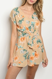 Papermoon Taupe Floral Romper - Product Mini Image