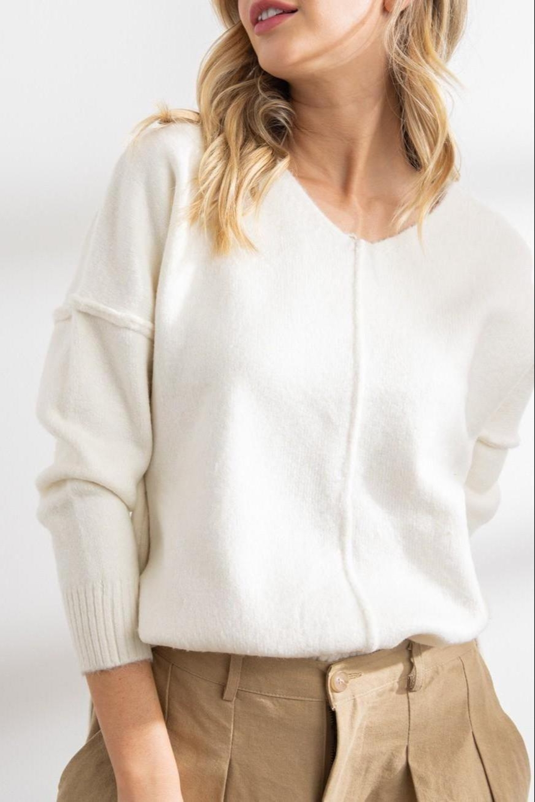 Papermoon Clothing Celine Soft Seam Sweater In Ivory - Main Image