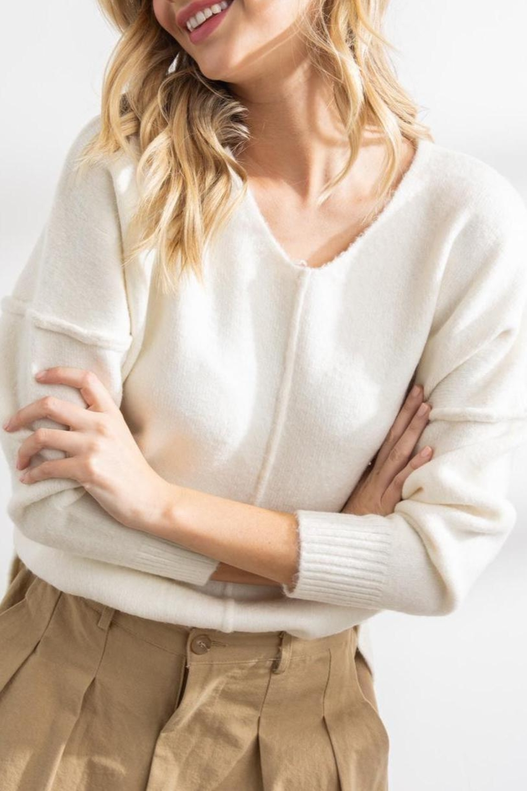 Papermoon Clothing Celine Soft Seam Sweater In Ivory - Side Cropped Image