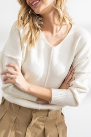 Papermoon Clothing Celine Soft Seam Sweater In Ivory - Side cropped