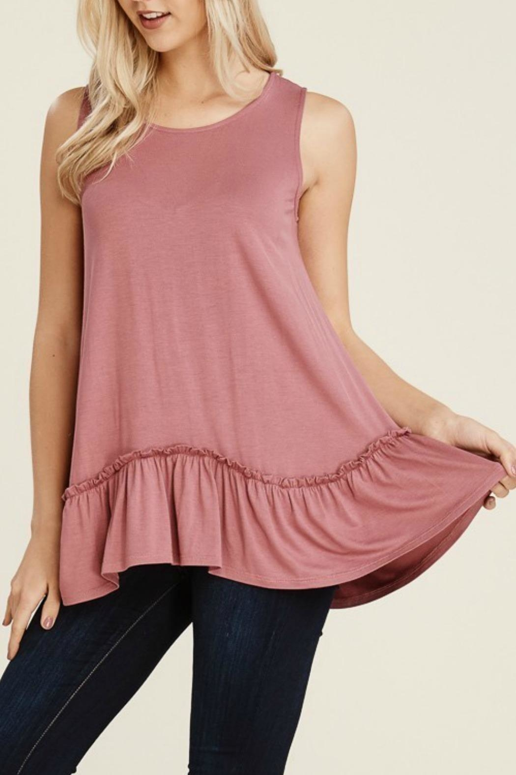 Papermoon Clothing Mauve Ruffle Tank - Front Cropped Image