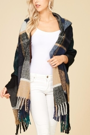 Papermoon Clothing Plaid Hooded Shawl-Wrap - Front cropped