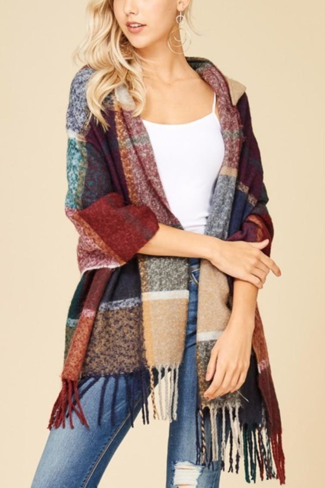 Papermoon Clothing Plaid Hooded Shawl-Wrap - Front Cropped Image