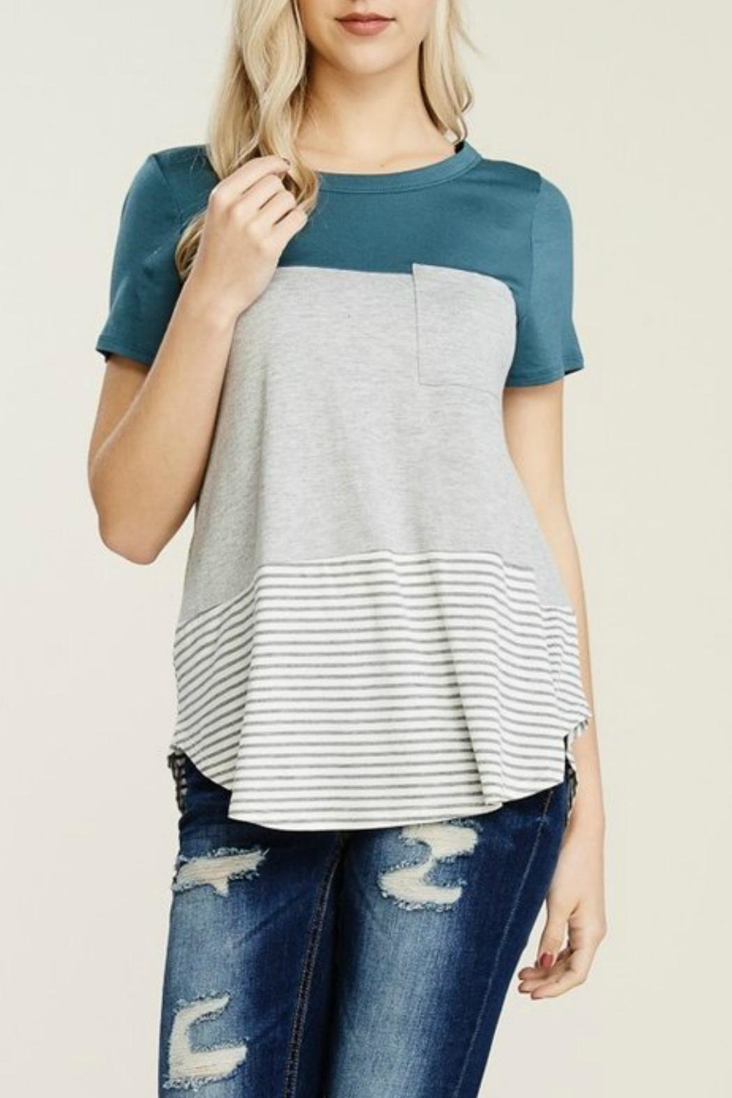 Papermoon Clothing Teal Colorblock Tee - Main Image