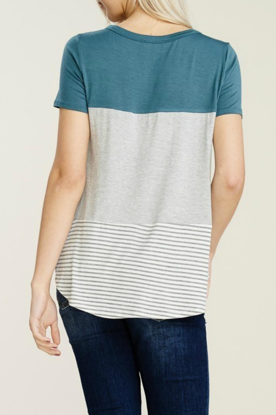 Papermoon Clothing Teal Colorblock Tee - Side Cropped Image
