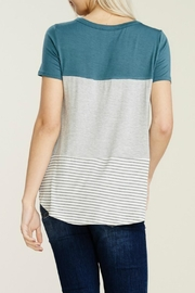 Papermoon Clothing Teal Colorblock Tee - Side cropped