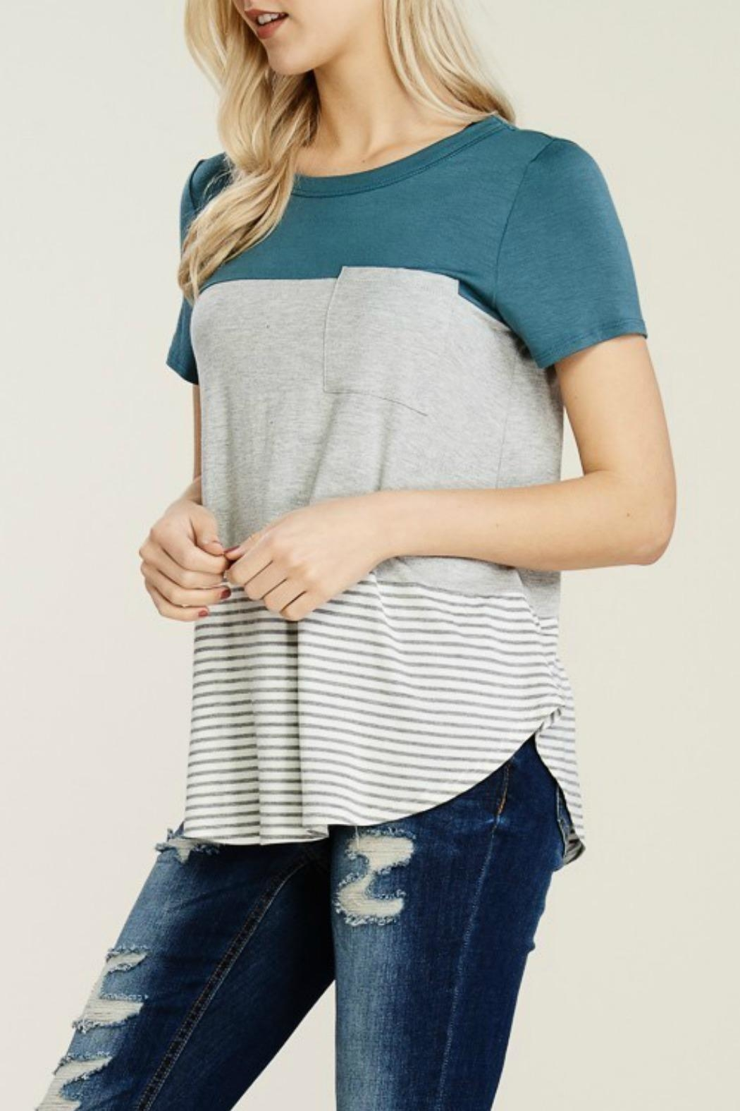 Papermoon Clothing Teal Colorblock Tee - Front Full Image