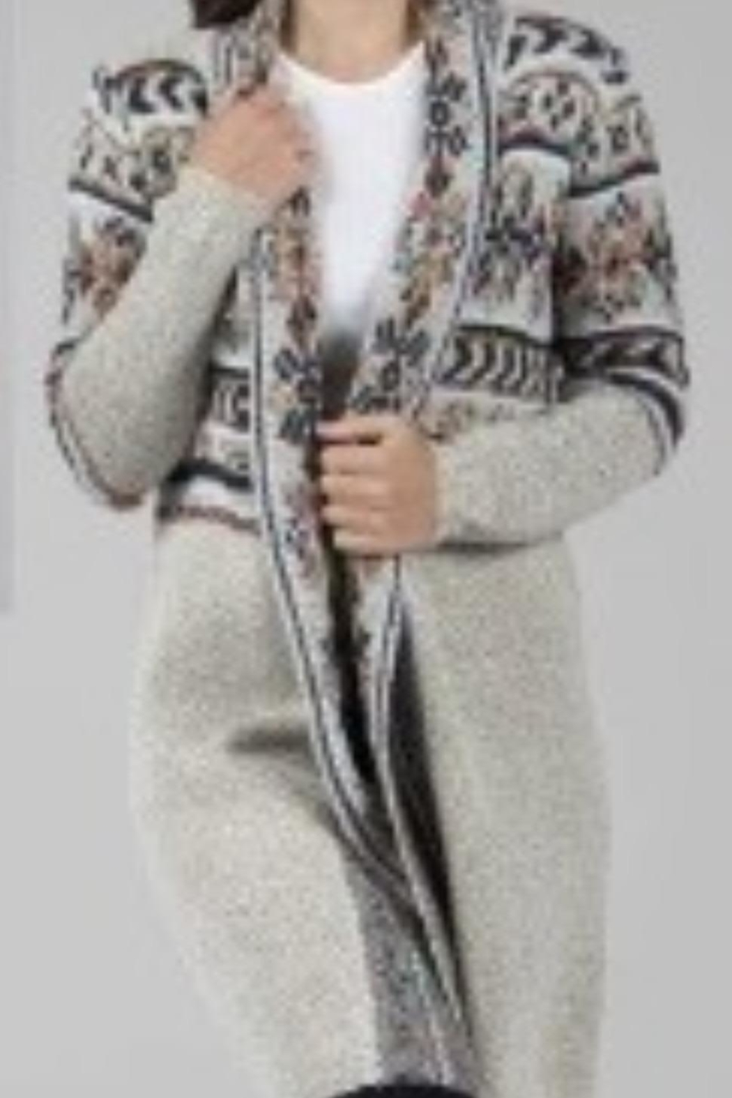 Papillon Beige Print Cardigan - Front Cropped Image
