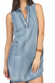 Papillon Denim  Dress With Pockets - Front cropped