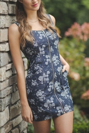 Papillon Floral Denim Stretch Dress With Pockets - Product Mini Image