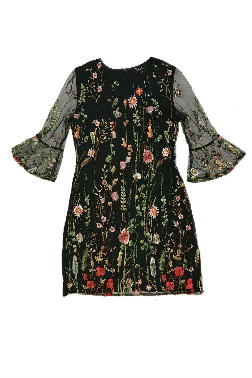 Papillon Floral Embroidered Dress - Front Cropped Image