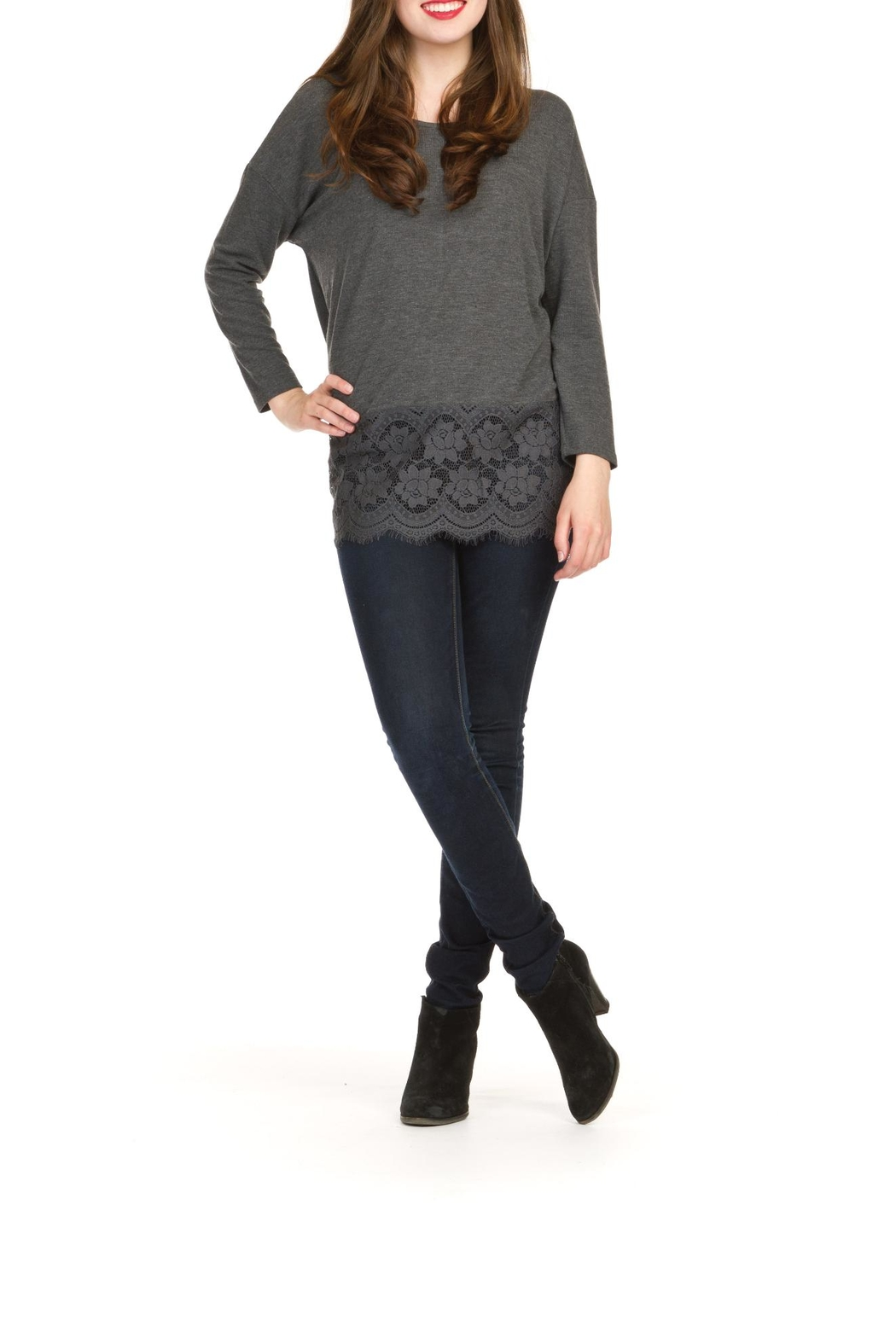 Papillon Lace Trim Tunic Top - Front Cropped Image