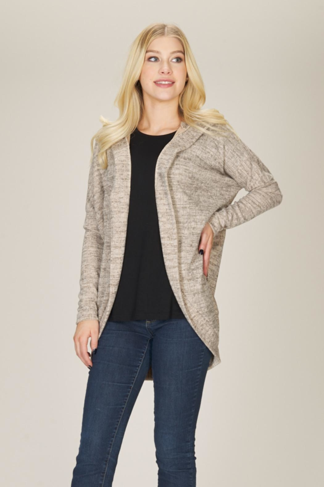 Papillon Open Beige Cardigan - Front Cropped Image