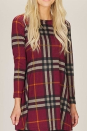 Papillon Plaid Sweater Dress - Front cropped