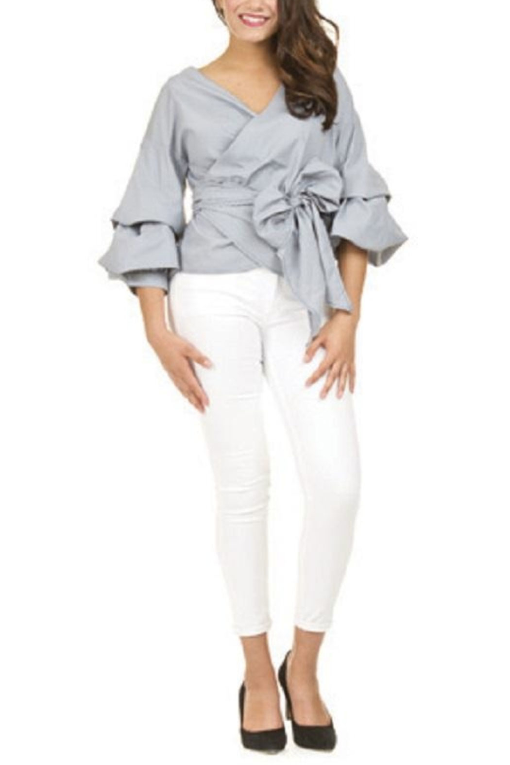 Papillon Puff Sleeve Wrap Top - Front Cropped Image