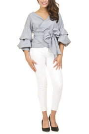 Papillon Puff Sleeve Wrap Top - Front cropped