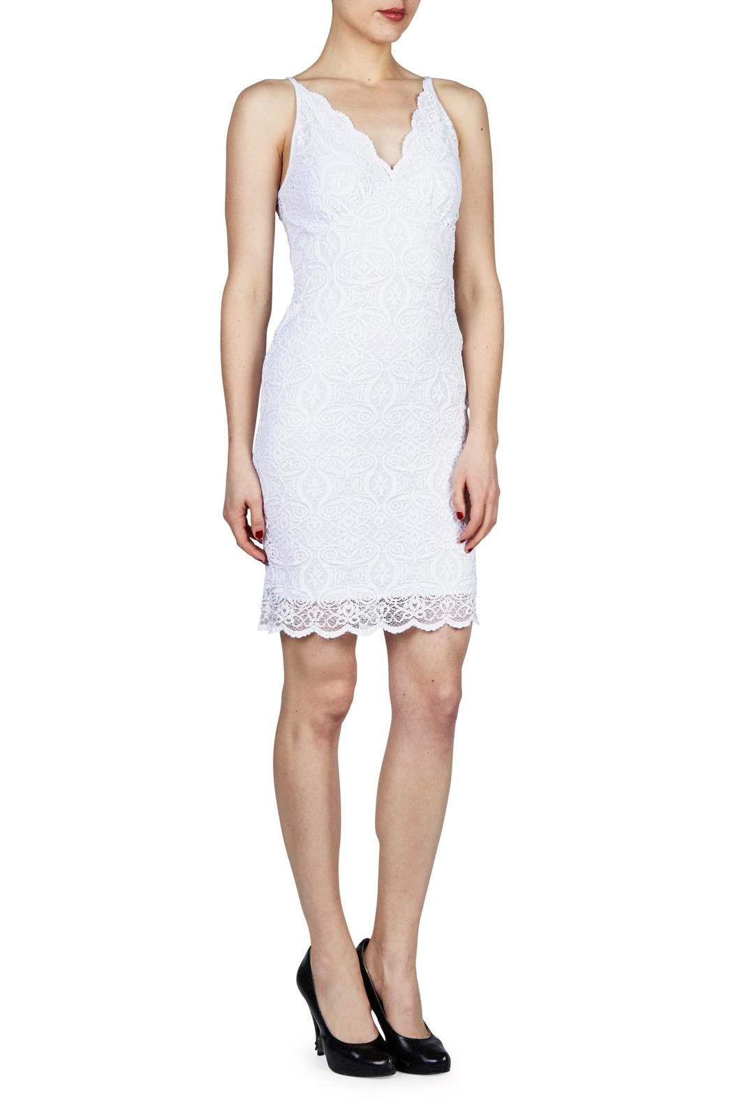 PAPILLON BLANC V Neck Lace Dress - Front Cropped Image