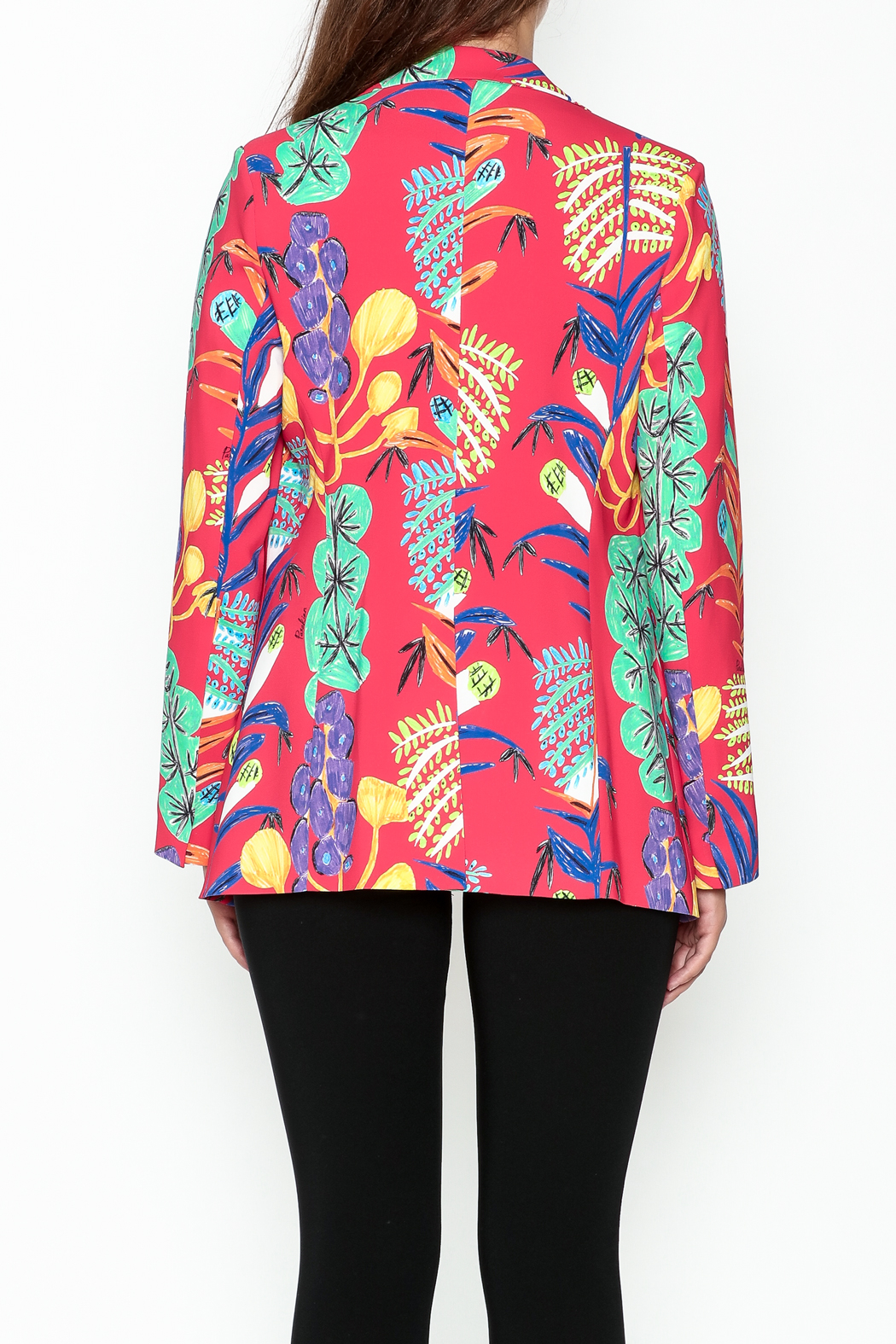 Parakian Red Print Blazer - Back Cropped Image