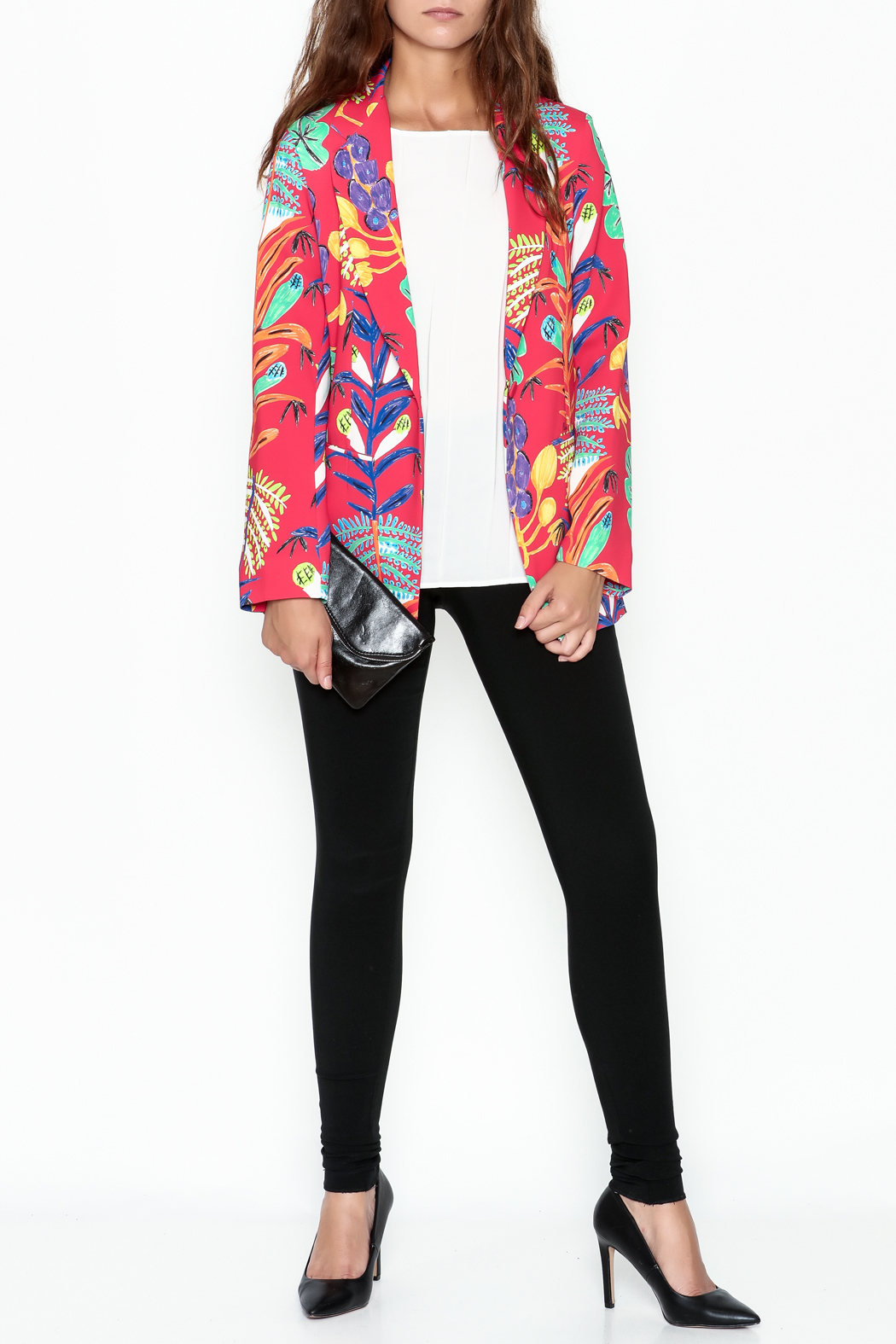 Parakian Red Print Blazer - Side Cropped Image