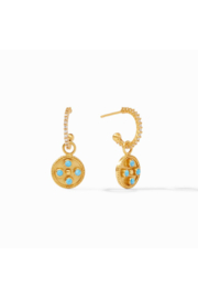 Julie Vos Paris Charm Earring Gold Pacific Blue w/ White Cz on Hoop - Product Mini Image
