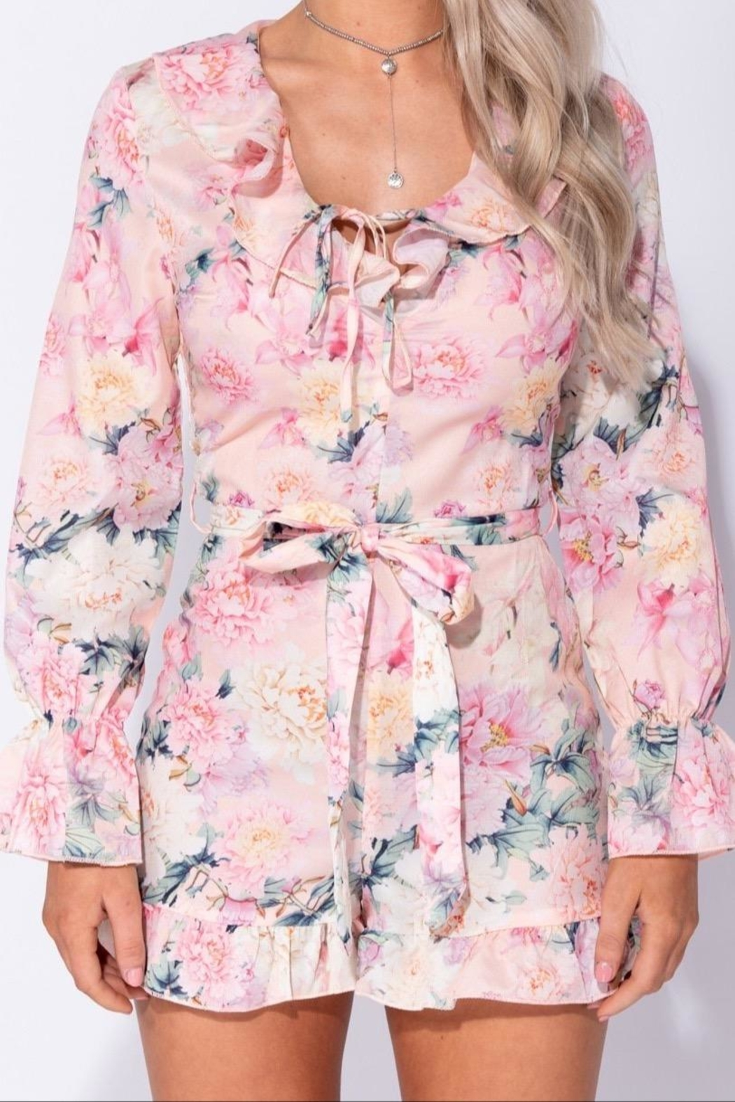 Parisian Floral Long Sleeve Romper - Back Cropped Image