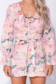 Parisian Floral Long Sleeve Romper - Back cropped