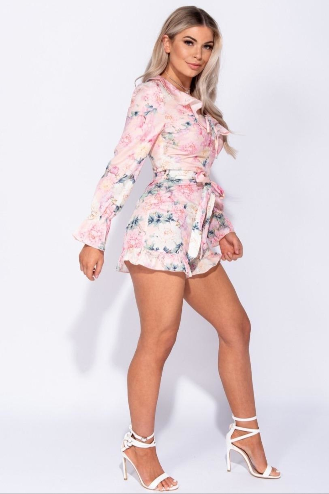 Parisian Floral Long Sleeve Romper - Front Full Image