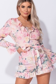 Parisian Floral Long Sleeve Romper - Product Mini Image